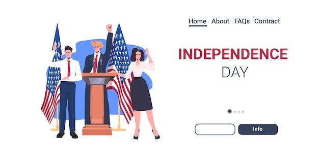 Equipo de políticos pronunciando un discurso desde la tribuna con la bandera de estados unidos, el 4 de julio, la página de inicio de la celebración del día de la independencia americana