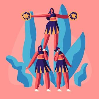 Equipo de porristas en uniforme con pompones en manos haciendo pirámide en un evento o competencia deportiva universitaria.