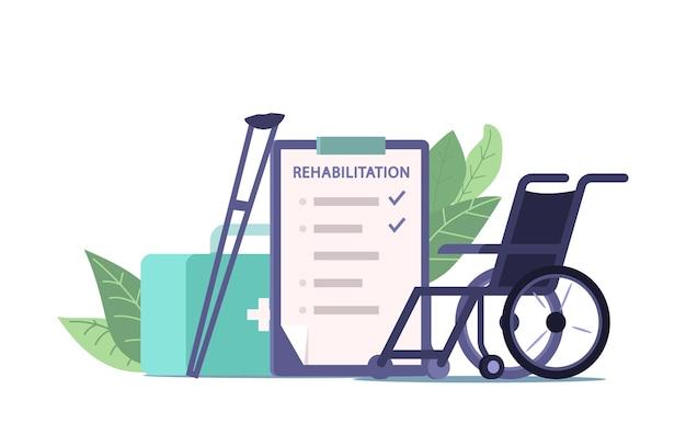 Equipo y prescripción de fisioterapia y rehabilitación médica, silla de ruedas, muletas