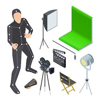 Equipo de producción de películas isométricas.