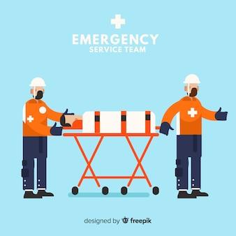 Equipo profesional de emergencia dibujado a mano