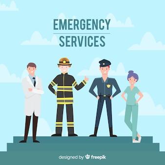 Equipo profesional de emergencias con diseño plano