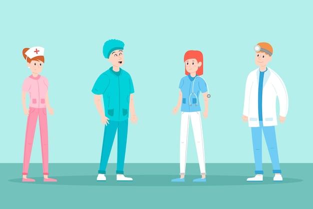 Equipo profesional de jóvenes personajes de salud