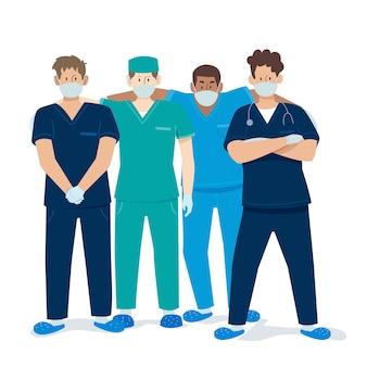 Equipo profesional de salud y amigos