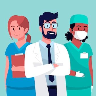 Equipo profesional de salud ilustrado