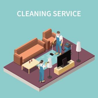 Equipo profesional de servicio de limpieza del hogar en el trabajo, aspiradoras, alfombra, polvo, lámpara de pie, pantalla, composición isométrica