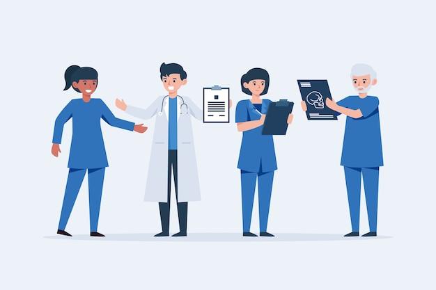 Equipo de profesionales médicos jóvenes