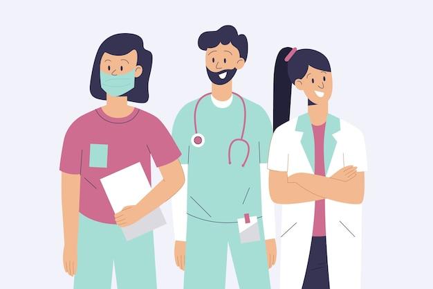 Equipo de profesionales de la salud con los brazos cruzados