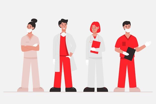 Equipo de profesionales de la salud en rojo y blanco