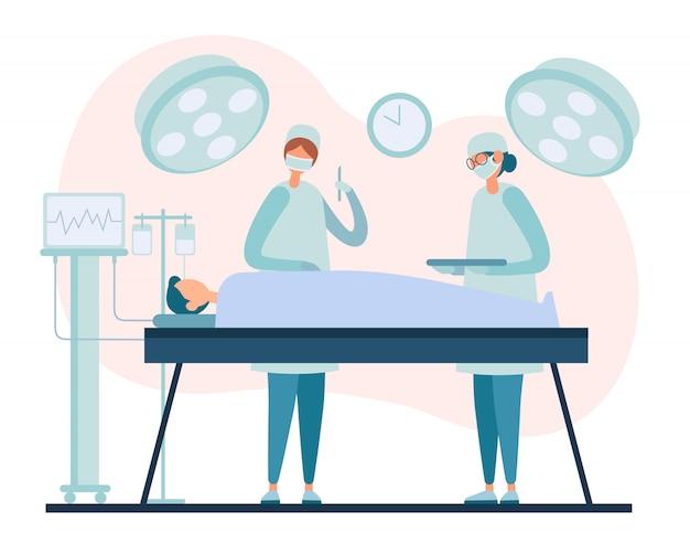 Equipo quirúrgico realizando operación en paciente hospitalizado
