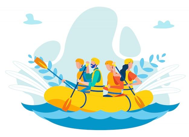 Equipo remando en la ilustración plana de barco inflable