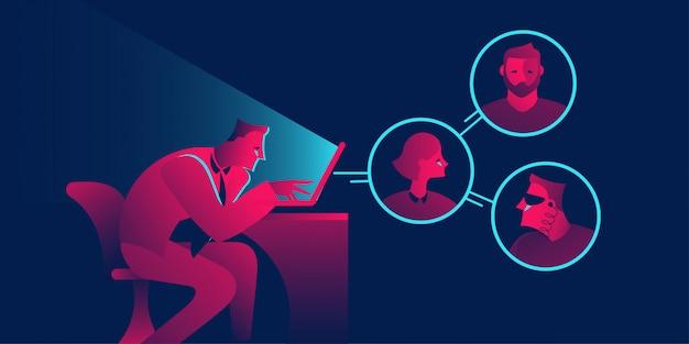 Equipo remoto, conferencia, concepto de negocio de chat