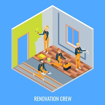 Equipo de renovación plano isométrico