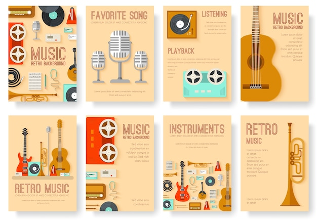 Equipo retro música set círculo infografía plantilla