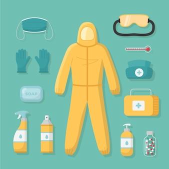 Equipo de seguridad y traje de materiales peligrosos.