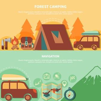 Equipo de senderismo y accesorios de navegación para camping forestal.