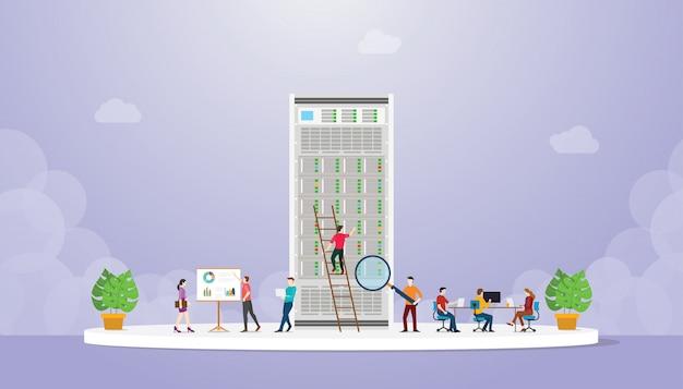 El equipo de servicio de análisis de supervisión del servidor con personas trabaja analiza el rendimiento con un estilo plano moderno