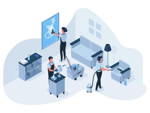 Equipo de servicio de limpieza de casa profesional isométrica en el trabajo. los empleados del servicio de limpieza limpian, lavan y aspiran la ilustración de vector de sala de estar. equipo de limpiadores profesionales