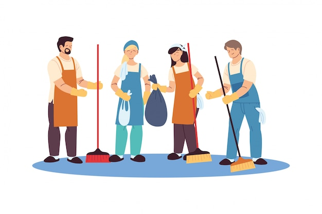 Equipo de servicio de limpieza con guantes y utensilios de limpieza.