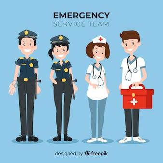 Equipo de servicios de emergencia flat