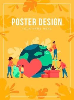 Equipo social ayudando a la caridad y compartiendo esperanza ilustración vectorial plana. gente de dibujos animados dando ayuda y ayuda humanitaria.