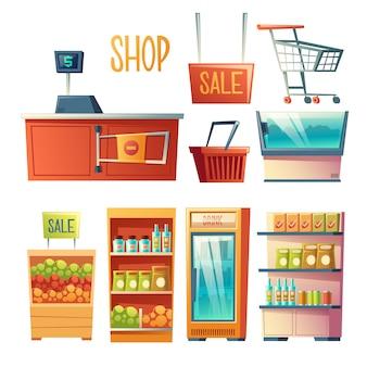 Equipo de la tienda de comestibles, conjunto de vector de dibujos animados muebles aislado sobre fondo blanco