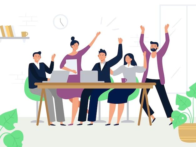 Equipo de trabajadores de oficina emocionado