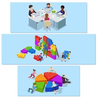 Equipo de trabajo conjunto de concepto horizontal de la bandera. ilustración isométrica de 3 conceptos horizontales de la bandera del vector del edificio de equipo para el web