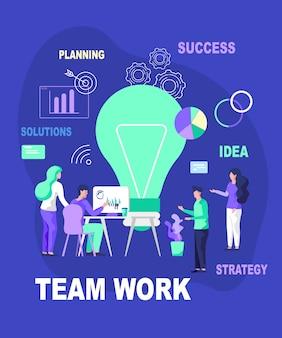 Equipo trabajo idea planeación soluciones éxito estrategia