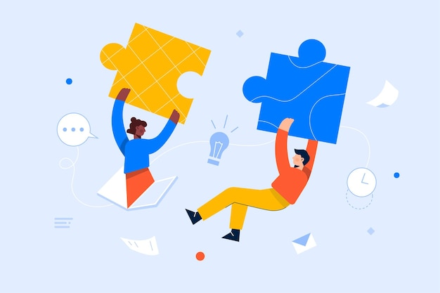 Equipo de trabajo uniendo piezas de rompecabezas, lluvia de ideas, colaboración, concepto de asociación