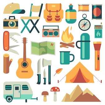 Equipo de turistas y conjunto de vectores de accesorios de viaje. bosque de acampada y senderismo elementos planos. equipo para senderismo aventura al aire libre, campamento e ilustración de mochila.