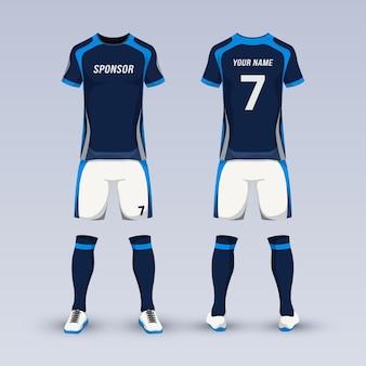 Equipo para uniforme deportivo de fútbol.