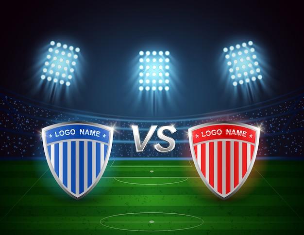 Equipo a vs equipo b, campo de fútbol con diseño de estadio de luz brillante. ilustración vectorial