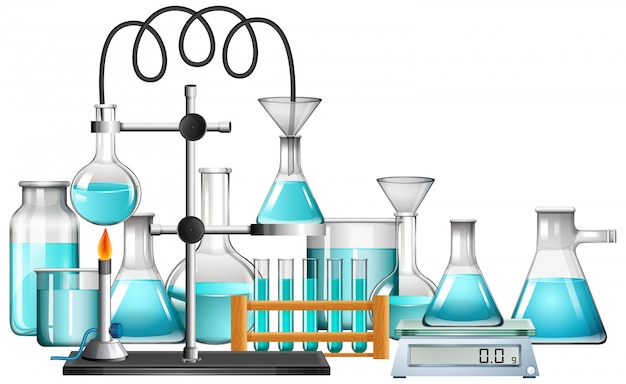 Equipos de ciencia en blanco