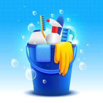 Equipos coloridos para la limpieza de superficies.