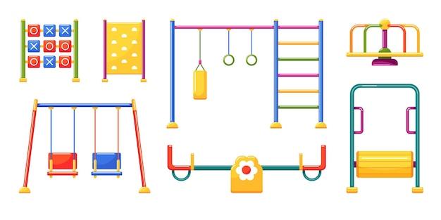 Equipos deportivos y de entretenimiento para juegos infantiles. colocar