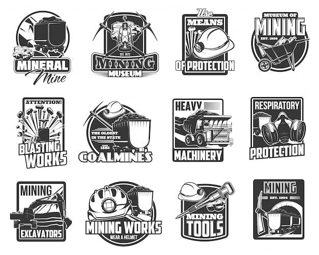 Equipos, herramientas y maquinaria de minería de carbón y mineral.
