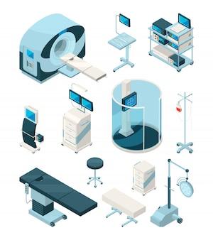 Equipos isométricos para hospital, tecnología médica, asistencia sanitaria y monitorización.