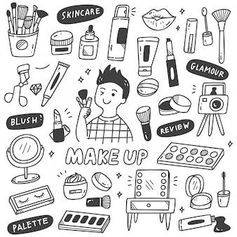 Equipos de maquillaje en estilo doodle