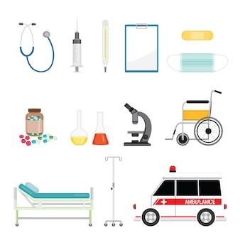 Equipos médicos, conjunto de objetos de herramientas