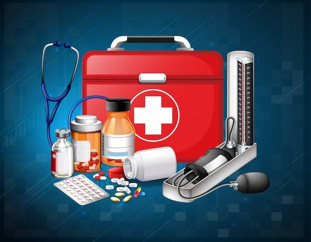 Equipos médicos y medicina sobre fondo azul.