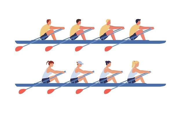 Equipos de remo de mujeres y hombres navegan en botes.