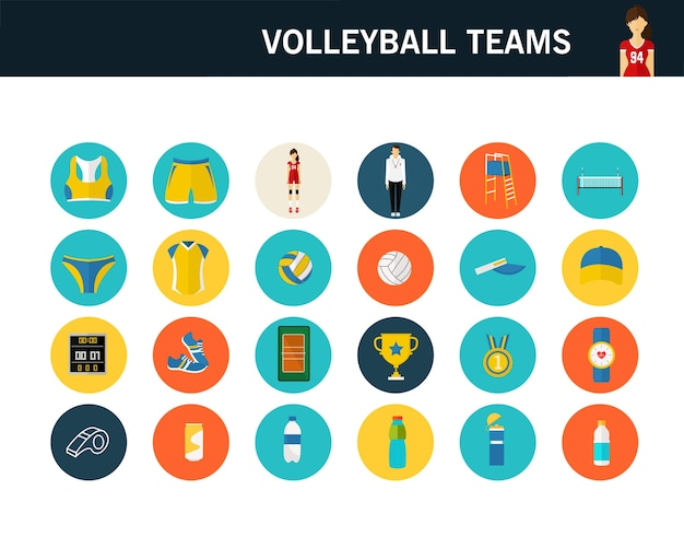Equipos de voleibol concepto iconos planos.