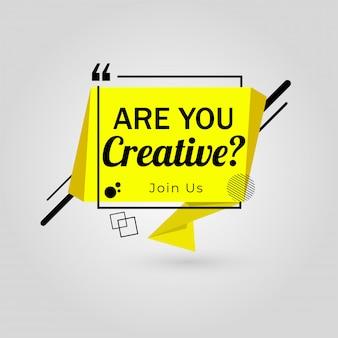 ¿eres creativo? únase a nosotros para la vacante de trabajo, estamos contratando cartel