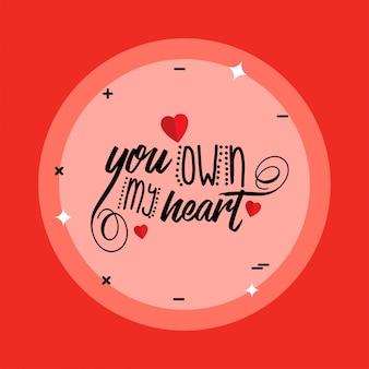 Eres dueño de mi corazón con fondo rojo