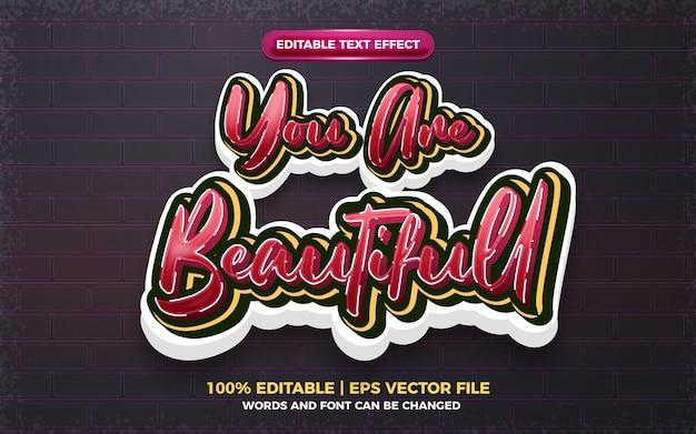 Eres hermoso efecto de texto editable 3d estilo garffiti