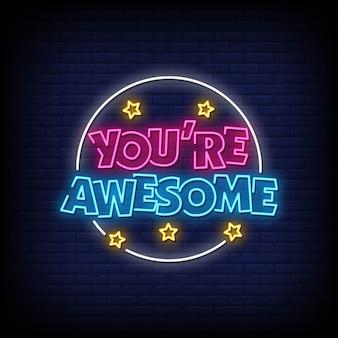 Eres un impresionante vector de texto de estilo de letreros de neón