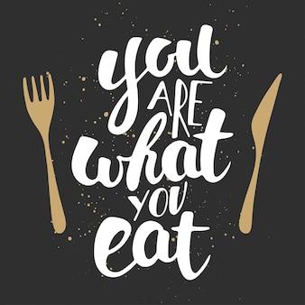 Eres lo que comes, caligrafía moderna de pincel de tinta