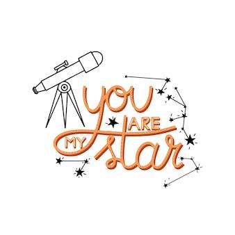 Eres mi estrella letras cita estrellas telescopio un cohete y constelaciones