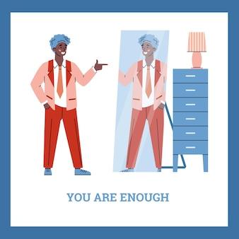 Eres suficiente tarjeta con la atractiva ilustración de vector de dibujos animados de hombre negro